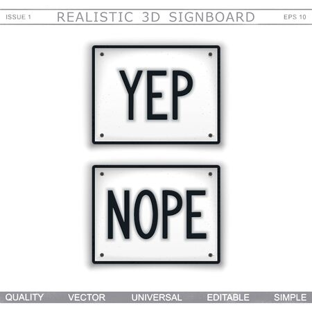 Design signboard in style car number plates with inscription YEP and NOPE. Vector sticker