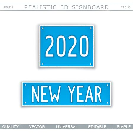 New Year 2020. Two signboard plates with text. Vector design elements