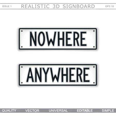 Direction signs. Nowhere. Anywhere. Stylized signboard design. Vector badge Stock Illustratie