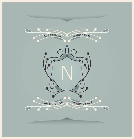 Graceful medieval insignia. Trendy linear style. Vector emblem design Фото со стока - 131977984