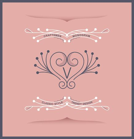 Elegant luxury antique coat of arms. Laconic twirl style. Vector linear design Фото со стока - 131977982