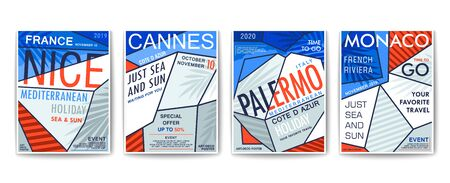 Mediterranean resorts. Nice, Monaco, Palermo and Cannes. Set of modern posters design. Stylized cycladic style arhitecture. Vector template