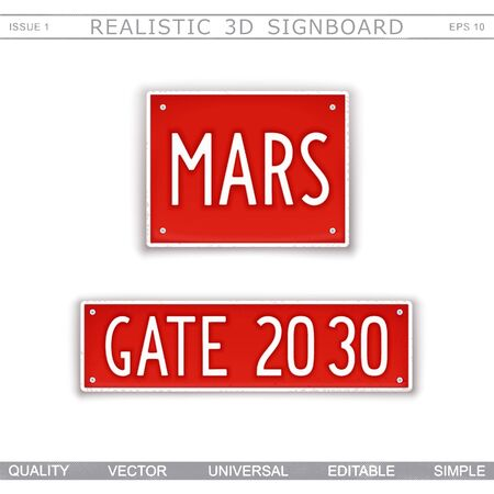 MARS. Gate 2030. Design signboard in style car number plates. Vector elements Stock Illustratie