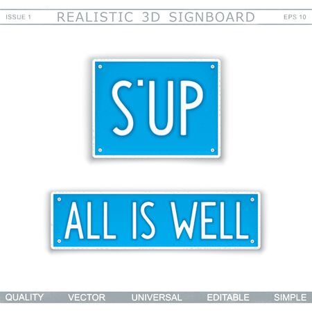 What is up. All is well. Abbreviation - S'UP. Stylized car license plate. Top view. Vector design elements