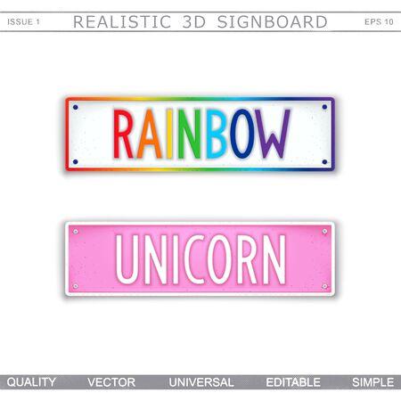 Rainbow. Unicorn. Stylized signboard design. Vector badge Stockfoto - 131977987