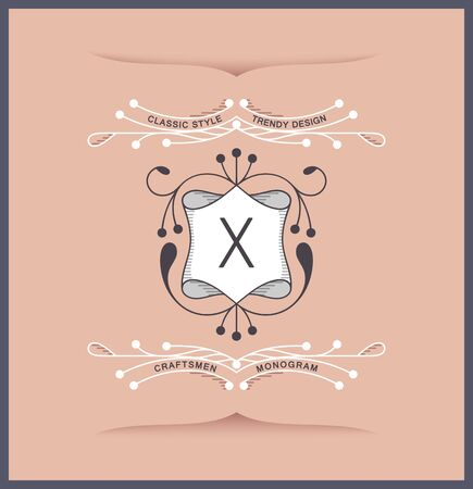 Elegant luxury antique coat of arms. Laconic twirl style. Vector linear design Ilustrace