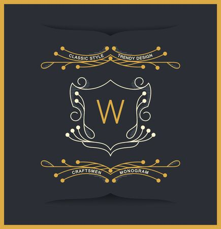 Curly monograms design in victorian style. Vintage vector insignia