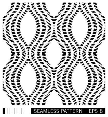 Seamless pattern with wavy grunge lines. Ikat style. Shibori vector ornament design. Black and white background.