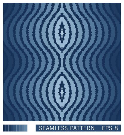 Seamless pattern from ripple wavy lines. Striped graphic design with gradual color hues. Optical illusion of motion. Vector texture. Stock Illustratie