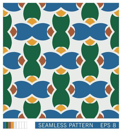 Mediterranean seamless pattern. Stylized vector texture from ethnic ceramic motif. Stock Illustratie