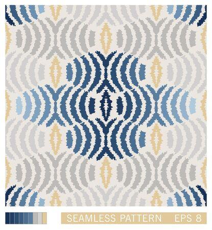 Classic mediterranean folk design. Stylized ceramic talavera motif. Ethno ornament elements. Seamless pattern. Vector texture design