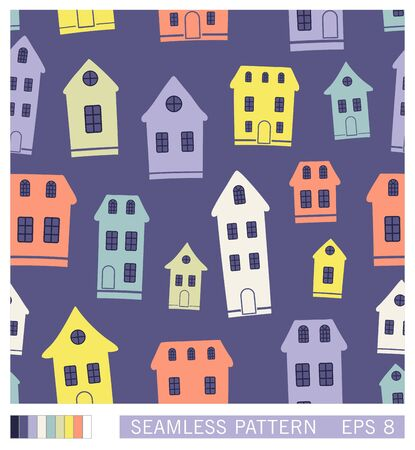 Cartoon town seamless pattern. Vector illustration. Landscape with houses in retro style. Stock Illustratie