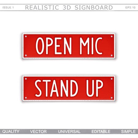 Open mic. Stand up. Design signboard in style car number plates. Vector elements