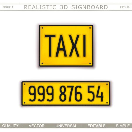 Taxi. Stylized car license plate. Top view. Vector design elements Stock Illustratie