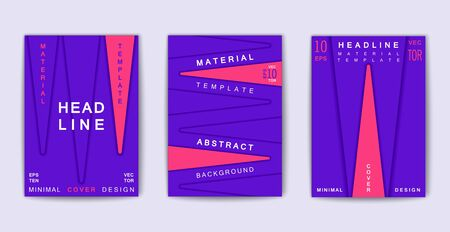 Trendy poster design with abstract 3D shapes. Composition from volume triangle forms. Vector cover template