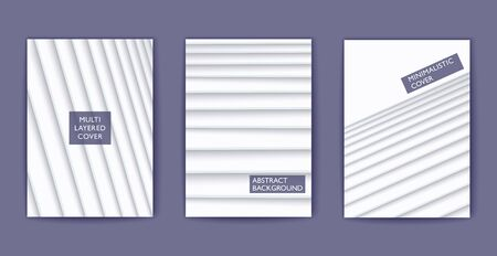 White shaded multi layered poster. Vector 3D cover template. Minimalistic style design. Papercut style