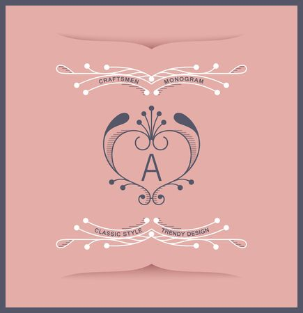Graceful medieval insignia. Trendy linear style. Vector emblem design Stock Illustratie