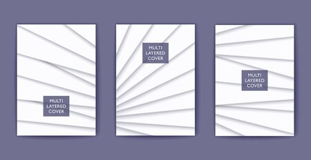 White shaded multi layered design. Vector 3D cover template. Papercut style poster