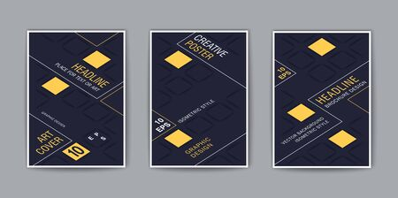 Creative covers. Stylized isometric template for design. Trendy vector background 일러스트