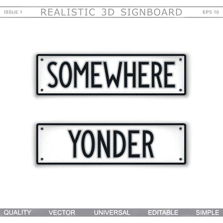 Direction signs. Somewhere. Yonder. Stylized signboard design. Vector badge