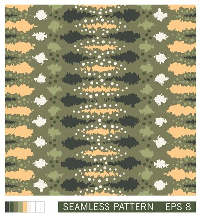 Seamless spotted pattern. Vector lacerated grunge stains and smudges. Painterly texture with stylized wildlife motifs. Stock Illustratie