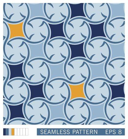 Stylized mediterranean folk design. Design of ceramic talavera style. Ethno ornament. Vector seamless pattern.