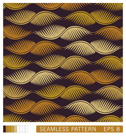 Floral seamless pattern. Stylized golden palm leaves ornament. Flat vector texture design. Geometric linear leafs.