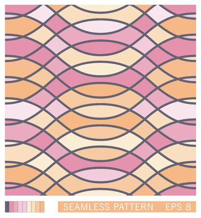 Vector seamless texture. Colored stained glass window. Pattern from wavy interlacing lines.
