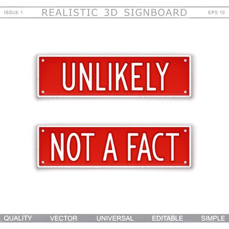 Unlikely. Not a fact. Two signboard plates with text. Vector design elements Ilustrace