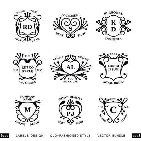 Set of linear vintage heraldry designs. Bundle of nine monograms template. Ready vector labels