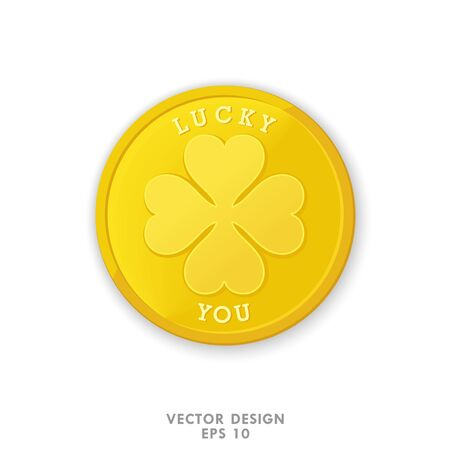 Gold coin with four leaf clover. Lucky you. High quality vector design element. Isolated object
