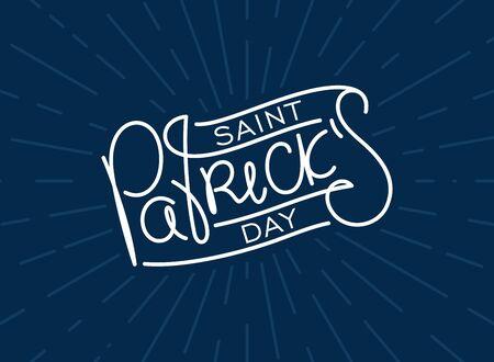 Saint Patricks day. Festive template. Trendy thin line calligraphy lettering label. Vector design elements.