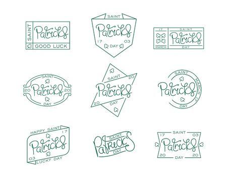 Set of line art labels for Saint Patricks day . Handwritten lettering. Creative thin line calligraphy bundle. Vector design elements.