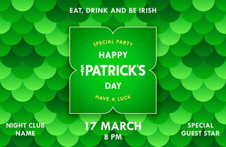 Happy St. Patricks day. Bright festive banner with label on merry pattern background. Irish holiday template. Vector illustration Ilustrace