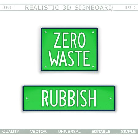 Zero waste. Rubbish. Two signboard plates with text. Vector design elements  Stock Illustratie