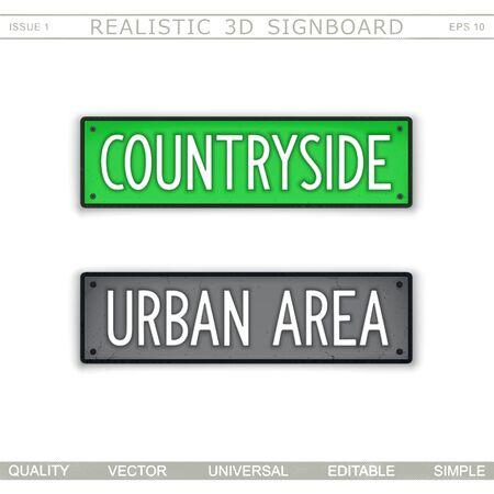 Countryside. Urban area. Realistic 3D signboard. Vector clip art