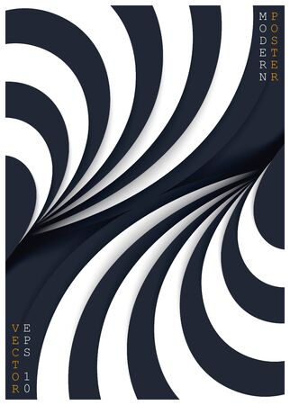 Abstract bicolour striped geometric poster. Black and white twisted paper cut layers. Vector 3D illustration
