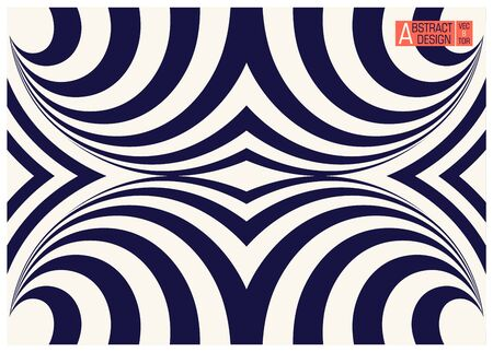 Two colors striped geometric optical illusion. Conceptual modern art illusion. Trendy vector illustration