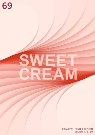 Sweet cream. Creative 3D layered space with a perspective in depth. Delicate cream color gradation in stepped elements. Vector poster design Иллюстрация