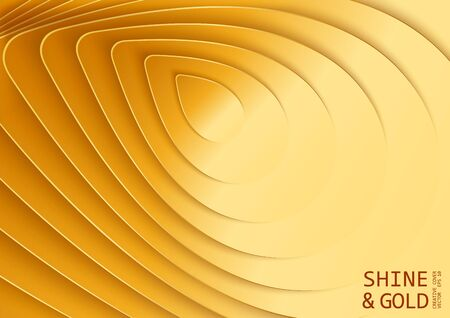 Golden 3D abstract background. Paper cut style poster. Multilayer and stepped relief. Modern vector illustration