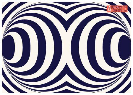 Two colors striped geometric optical illusion. Conceptual modern art illusion. Trendy vector illustration Vektorové ilustrace