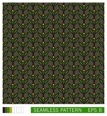 Vector seamless pattern. Vegetal motif with leaves. Decorative contour line design. Scandinavian style ornament Çizim