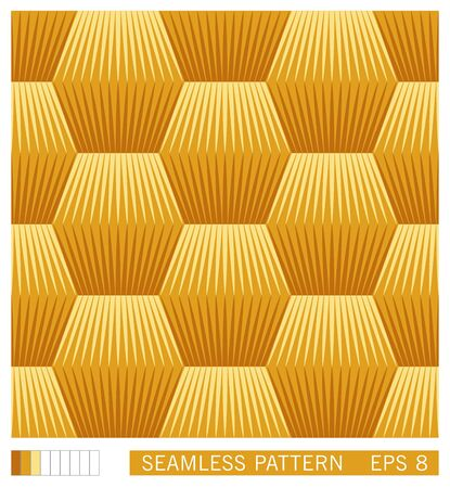 Vector seamless ornament. Geometric stepped perspective pattern.