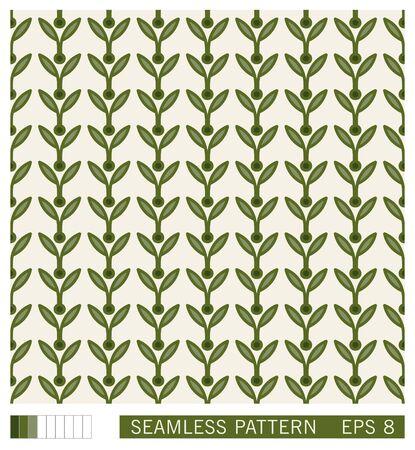 Vector seamless pattern. Vegetal motif with leaves. Decorative contour line design. Scandinavian style ornament