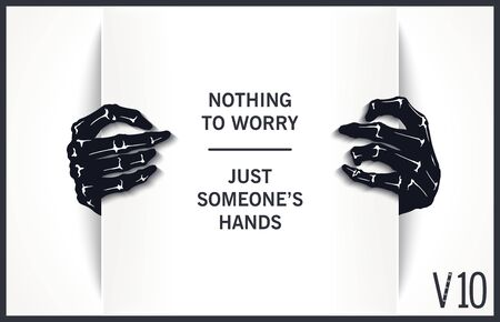 Two black hands of a monster are holding a paper sheet. Isolated mock-up. Template for design. Vector design elements