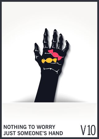 A mystical and scary hand from a hole holds a candy. Flat design with shadow. Vector illustration Vektorgrafik