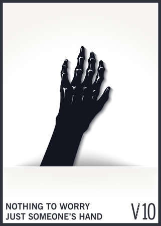 Mystical and scary hand from the hole. Witch arms from the slit. Conceptual design element. Vector illustration Illustration
