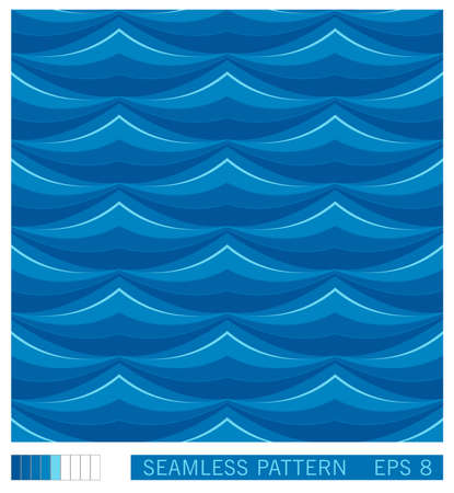 Vector seamless pattern. Simple graphic waves in oriental style. Illustration