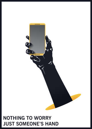 The hand is holding a mobile phone. Symbol of hacking of personal data. Black and white minimal illustration. Vector design elements Çizim