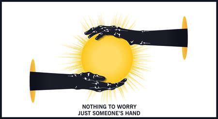 Two hands against each other hold the sun. Trendy flat style two-color illustrations. Vector design elements 矢量图像